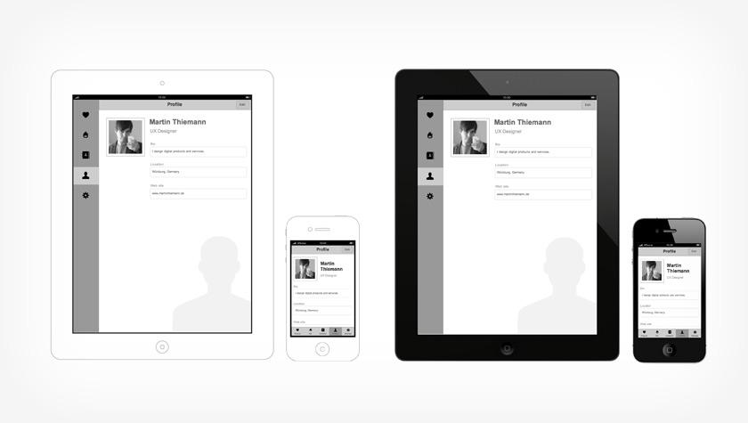Kostenlose Vorlage für iOS-Prototypen